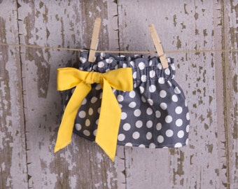 Grey Polka dot skirt with yellow bow Any Size 0-3 months to 6 toddler
