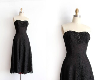 SALE vintage 1950s prom dress // 50s strapless black lace evening dress