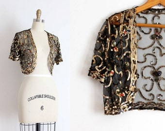 vintage 1930s top // 30s black mesh and gold sequin bolero jacket
