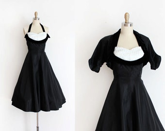 vintage 1950s prom dress // 50s black & sequin party dress
