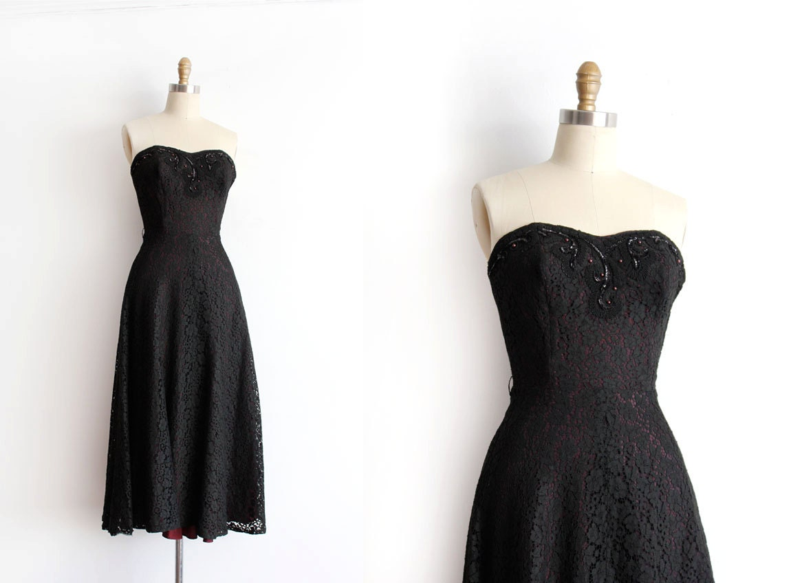 SALE Vintage 1950s Prom Dress // 50s Strapless Black Lace