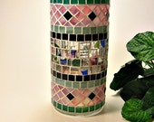 Stained glass mosaic vase or pillar candle holder pink green black