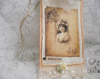 Shabby Chic Handmade Gift Tag In a Old World Look Adorned with Lace Stone Rose Ruffle Lace