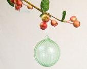 Hand Blown Glass Ornament, Holiday Decor, Christmas Glass Ball Suncatcher, Sea Glass Gree