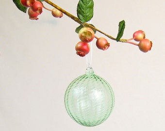 Hand Blown Glass Ornament, Holiday Decor, Christmas Glass Ball Suncatcher, Sea Glass Gree
