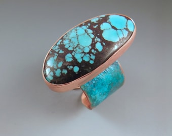 SALE- 10% off everything- Turquoise-Hammered Copper- Verdigris Patina- Adjustable Statement Ring