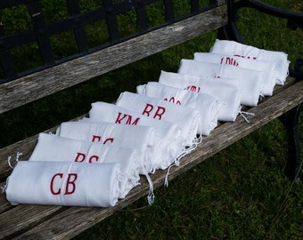 Bridal Party Monogrammed Shawls, Bridesmaids Gifts, 10 Pashminas