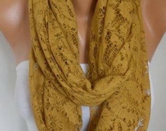Mustard Lace Infinity Scarf, Summer Scarf, Cowl ,Circle, Loop, Oversized Gift Ideas For Her, Women Fashion Accessories