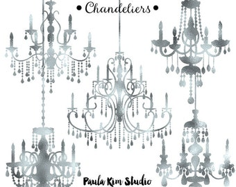 80% OFF SALE Silver Foil Chandelier Clipart, Wedding Clip Art, Instant Download, Commercial Use
