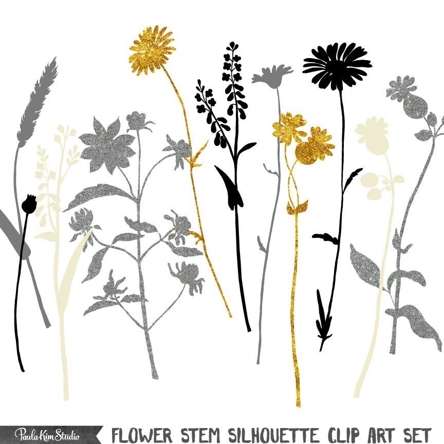 Botanical Silhouette Flower Clipart Floral Stem Clip Art