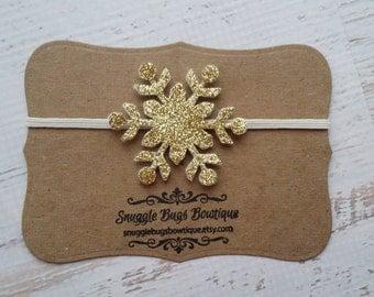Glitter Snowflake Headband in Gold
