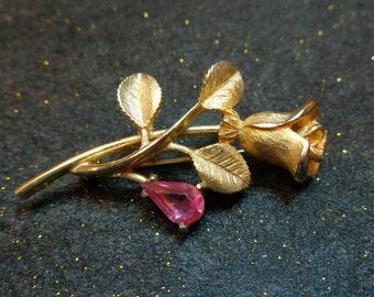 Vintage Avon Rose Brooch with Pink Rhinestone Dew Drop