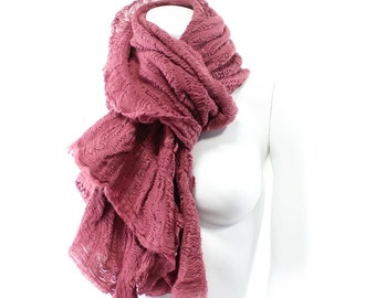 Ruffled Wool Stretch Scarf Wrap in Many colors watermelon pink, mustard