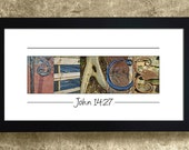 HOME DECOR - PEACE, John 14 : 27, Religious Gift, Easter Gift, Bible Verse Gift, Peace Sign