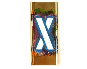 "Vintage Brass Stencil Letter ""X"" Reese's Interlocking Stencils, 4"" tall (c.1950s) - Monogram Display, Shadow Box Letter, Art Supply"