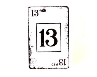 Number 13 Blank Card Stamp (Rubber Cling Mount Stamp) - Perfect for paper crafts, fabric, and more