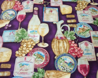 Wine Cheese Fabric Deep Purple Grapes Labels Fat Quarter New BTFQ