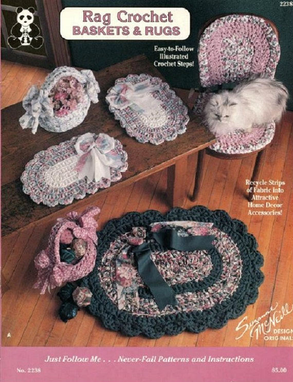 Rag Crochet Baskets & Rugs - Pattern Book To Crochet with Fabric ...