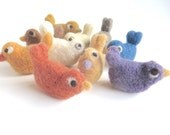 10 plant dyed felt birds, organic wool, natural wool, needlefelted, white, vanilla, yellow, orange, apricot, red, brown, green, blue, violet