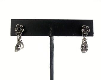 Micro Skull & Flower earrings
