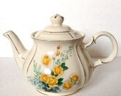 Sadler Tea Pot Yellow Roses with Blue Flower Cream Tea Pot - vintage gift for Mix and Match Tea Set - Bone China - Made in England
