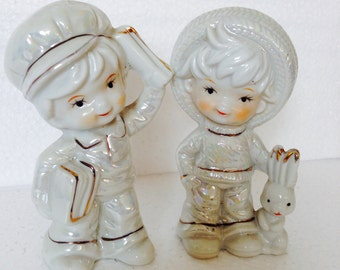 Two Kitsch White Victorian Incandescent Boy & Girl figurine statues - a cute gift or collectors display