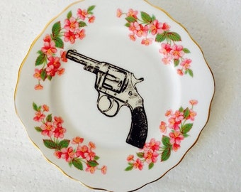 Hand gun plate black with pink flowers vintage china Display Wall Plate Collage