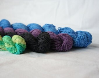 Sock Yarn Silk Noil Sport Weight 354 Total Yards Multi Skein Pack 111g 3.8 oz Hand Dyed OOAK International Shipping - Silk Noil Pack