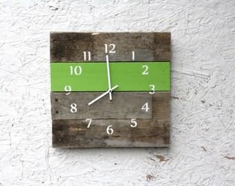 Reclaimed Wood Wall clock.  Apple Green. Spring. Bright Wall Clock.  Pallet wood.  Custom. Gift idea. Rustic meets modern.