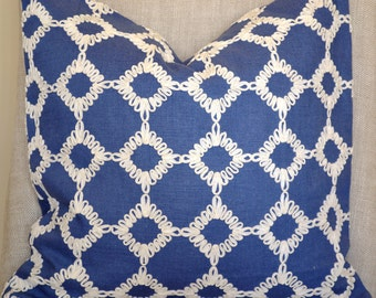 Decorative Throw Pillow, 18 by 18 in Royal blue, geometric design (Cover only)