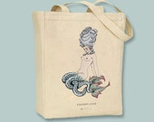Mermaid, Barbier Illustration, book, Les Liaisons dangereuses Natural or Black canvas tote -- selection of sizes