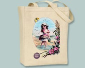Beach Girl Vintage Ad Canvas Tote -- Selection of sizes available
