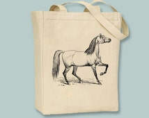 Vintage Horse Illustration on Canvas Tote -- Selection of sizes available