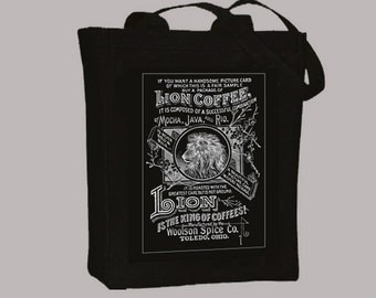 Vintage Lion Coffee Ad BLACK or NATURAL Canvas Tote -- Selection of sizes available