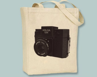 Vintage Holga Camera Illustration Canvas Tote - Selection of sizes, image in ANY COLOR