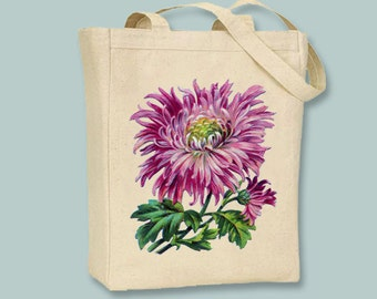 Vintage Pink Mum Canvas Tote - Selection of sizes available