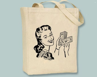 Retro Graphic Woman with Cash Canvas Tote - Selection of  sizes available, image in ANY COLOR