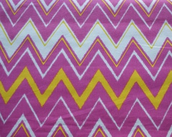 pink white yellow zigzag chevron fabric by the yard