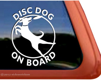 Disc Dog On Board | DC524OB | High Quality Adhesive Vinyl Labrador Window Decal Sticker