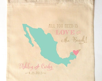 All You Need is Love and the Beach - Custom Printed Wedding Guest Canvas Tote Bags - Mexico Wedding Gift Bag