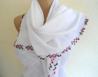white scarves, Soft Square Scarf, Ladies scarves, White cotton scarf, unique scarf, Mother's Day