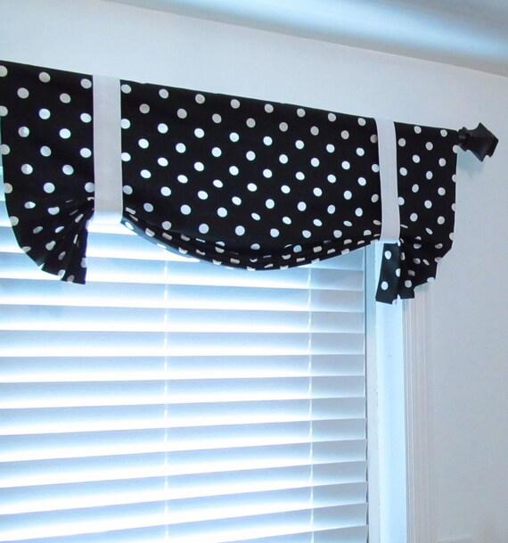 Black Amp White Polka Dots Tie Up Lined Valance Custom Sizing