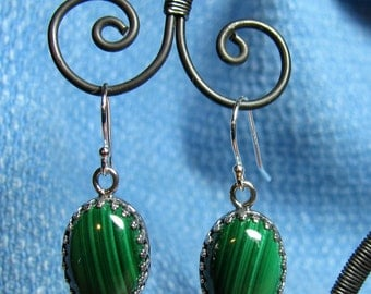 Earrings - Genuine Malachite in Sterling Silver (E - 234)