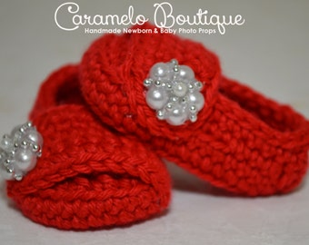 Red Baby Girl Shoes with Pearls-Red Baby Girl Slippers with Pearls-Red Baby Girl Loafers-Red Baby Girl Booties-Baby Girl Photography Prop