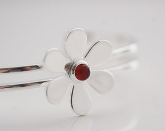 SPRING SALE • Carnelian Bangle • Carnelian Gemstone Silver Plated Daisy Bangle • Gift for Her • UK Seller