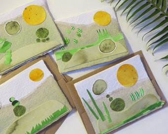 "HandmadePaper Cards (set of 4) ""Roly-Poly Season Shift "" envelopes included"
