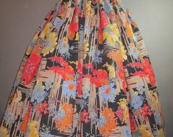 """1950s Gathered Skirt // Handsewn Full Skirt ...27"""" waist"""