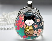 Geisha Doll Round Pendant Necklace with Silver Ball or Snake Chain Necklace or Key Ring
