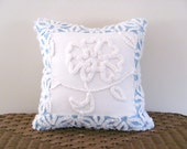 Blue Chenille Pillow Cover, WHITE PEONY, 14 X 14 inches, Light Blue Cushion Cover, Cottage Chic Pillow Case, Shabby Style Floral Pillow