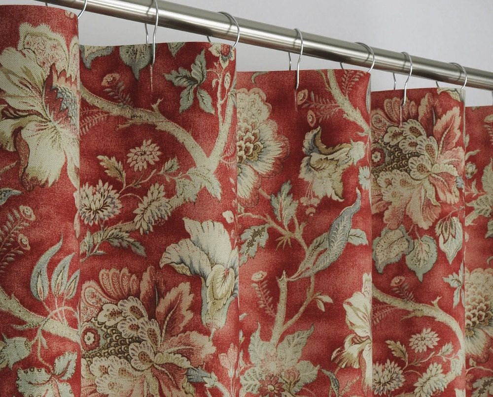 84 LONG Traditional Red Floral Shower Curtain 72 x by PondLilly